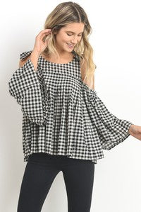 Cold Shoulder Gingham