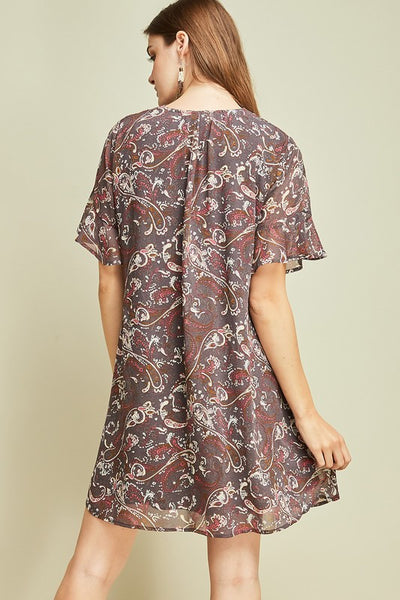 Fall Paisley Tunic- Charcoal