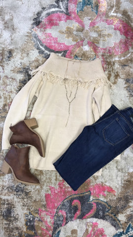 Fringe Off the shoulder- Oatmeal