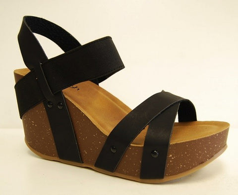 Criss Cross Black Wedge