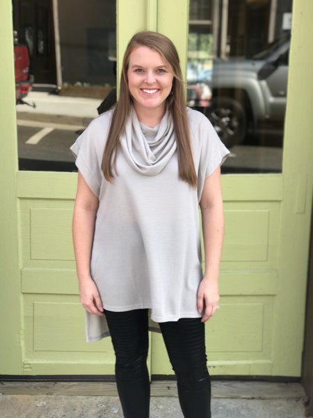 Cowl Neck Tunic- Silver