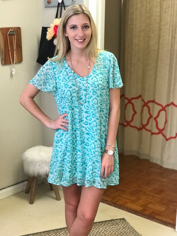 Leopard Print Dress- Seafoam