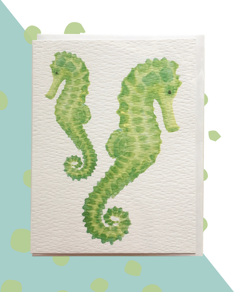 Watercolor Seahorse Card and Stationery