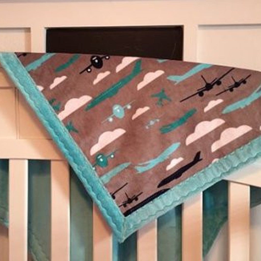 Minky Baby Blanket Airplanes (30