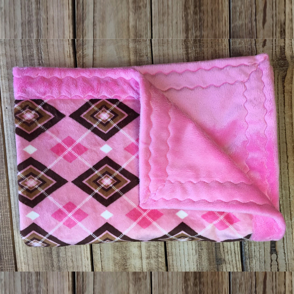Baby Minky Blankets - Pink Argyle (30