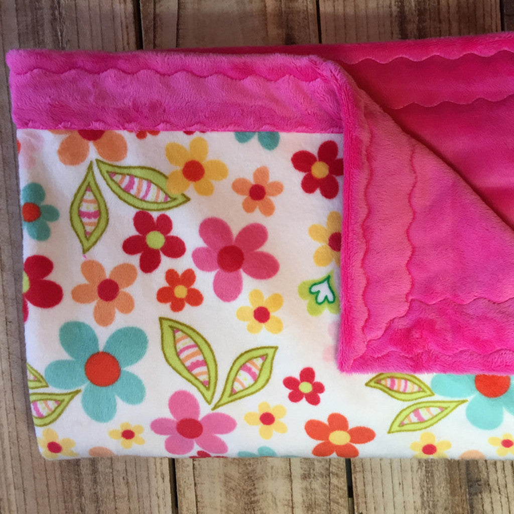 Minky Baby Blanket- Fun Flower Patch (30