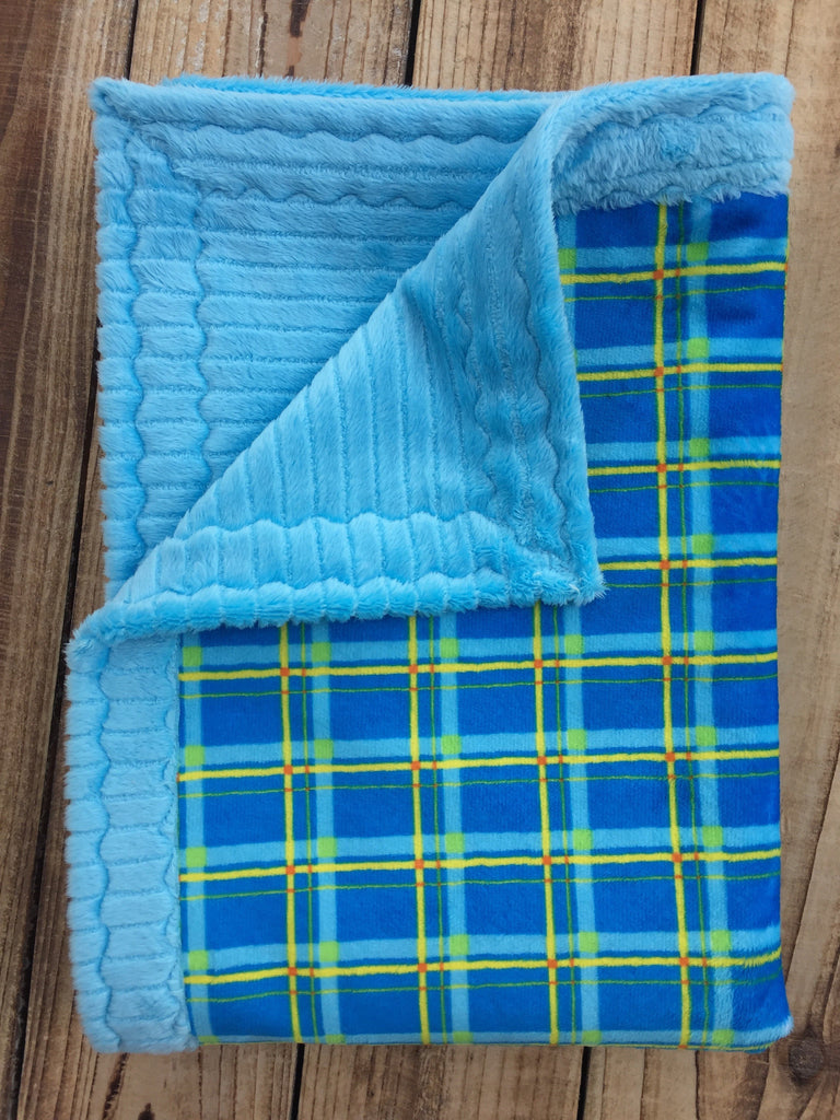 Turquoise/orange plaid with Turquoise ribbon minky (30 x 36) baby - Artizenbox