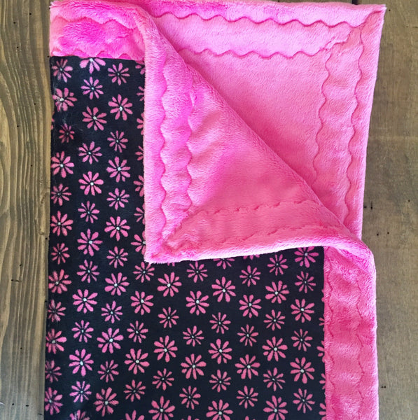 Sweet Pink Flower with Black minky baby blanket (30