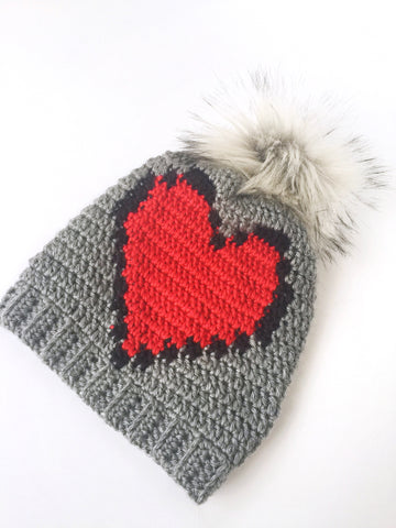 Heart slouchy beanie (ready to ship)