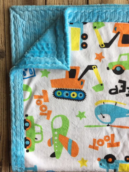 Beep, Toot, Zoom with turquoise ribbon minky - Artizenbox  - 1