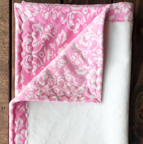 Damask pink with white minky baby blanket (30