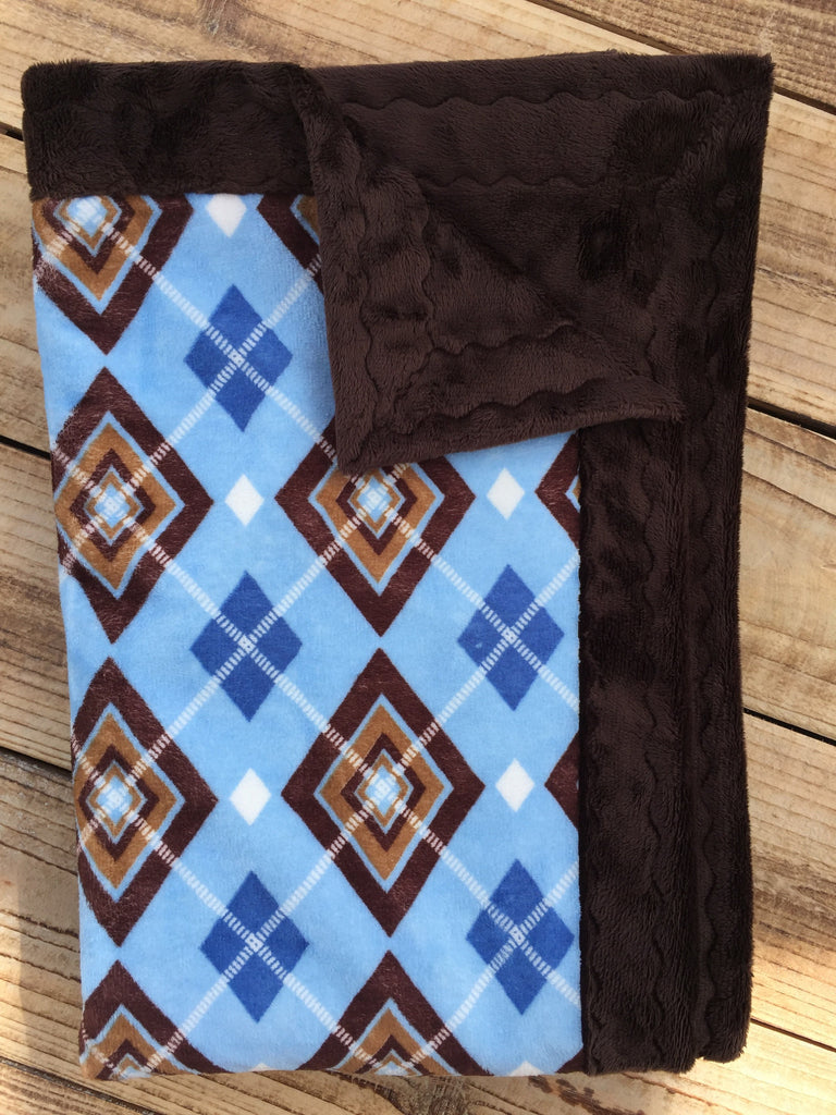Blue argyle with solid brown minky - Artizenbox
