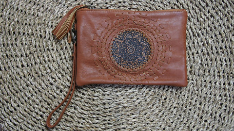 Tan Mandala boho Clutch