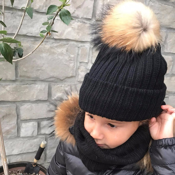 DUO Tuque pour Enfant & Foulard Doublée | DUO Kid Beanie & Fleece Scarf  -  Mpompon