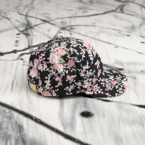 "DUO Casquettes Adulte et Enfant 2-4T | Adult and Kid Cap ""FLORAL NOIR'' - Mpompon"