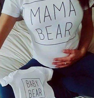 DUO Mama et Baby Bear - Blanc  -  Mpompon