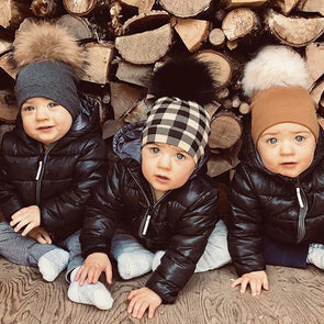 TRIO Tuques Enfant en Coton | TRIO Cotton Beanies for Kid  -  Mpompon