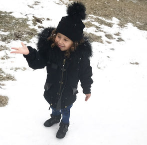 Manteau Parka pour Enfant | Parka Coat for Kid - Noir  -  Mpompon