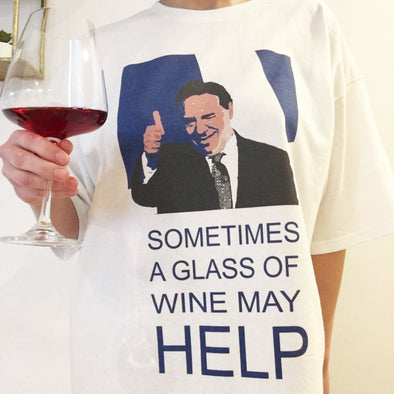 T-Shirt ''SOMETIMES A GLASS A WINE MAY HELP'' - Mpompon