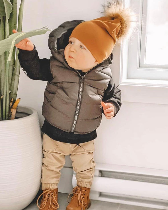 Tuque Enfant Coton | Kid Cotton Beanie CARAMEL - Mpompon