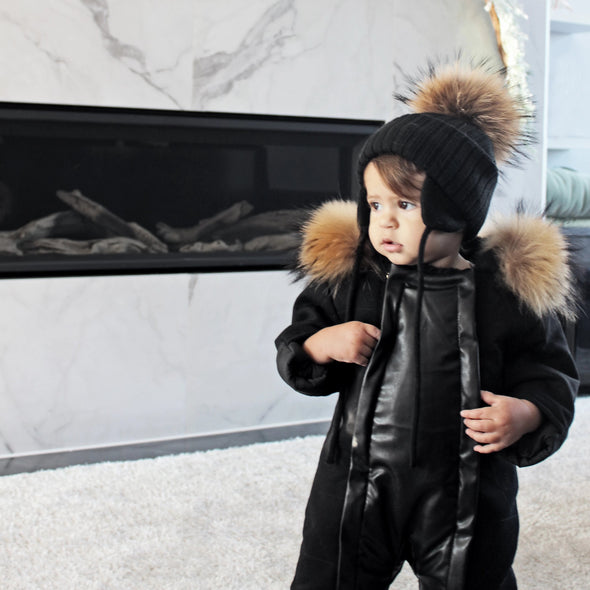 Manteau Bébé Collet Interchangeable | Baby Coat Interchangeable Fur - Mpompon