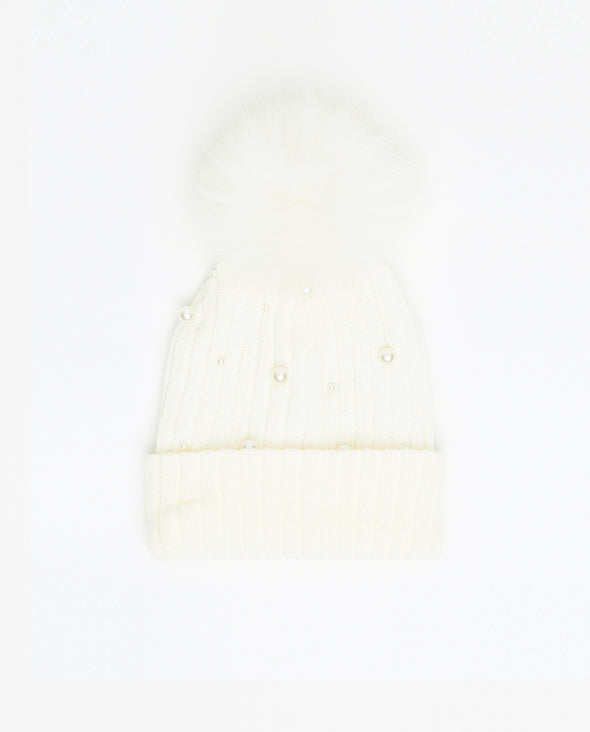 Tuque Adulte Doublée Perles | Pearls Adult Knit Beanie BLANC - Mpompon