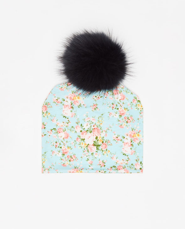 Tuque Enfant Coton | Kid Cotton Beanie FLORAL BLEU - Mpompon
