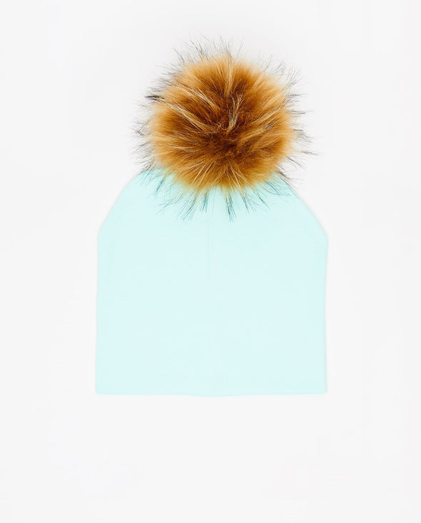 Tuque Enfant Coton | Kid Cotton Beanie AQUA - Vegan - Mpompon