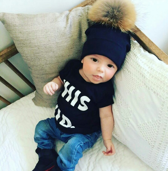 Tuque Coton Enfant | Kid Cotton Beanie ''NOIR'' - Mpompon
