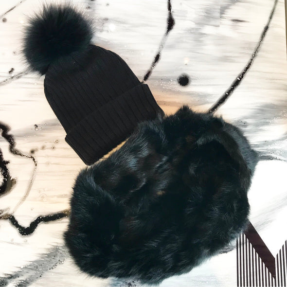 DUO Tuque Adulte Doublée et Foulard Fourrure | Adult Knit Beanie and Fur Scarf - Mpompon