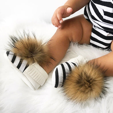 Bottines Bébé Pompons Interchangeables | Baby Pom Shoes - Mpompon