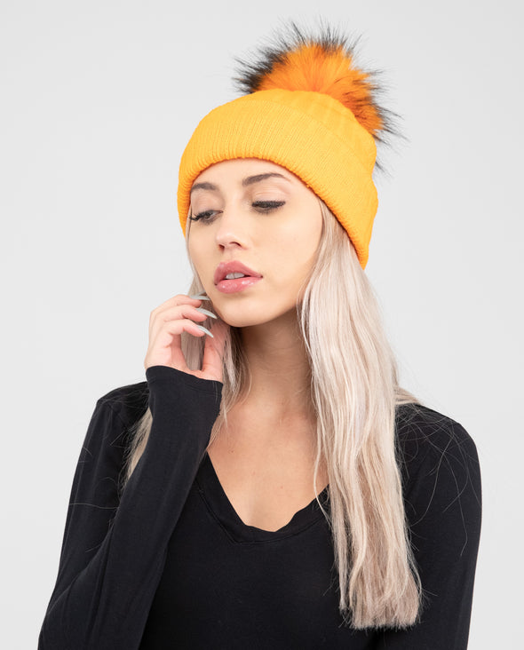 Tuque Adulte Doublée | Adult Knit Beanie ORANGE NEON - Vegan - Mpompon