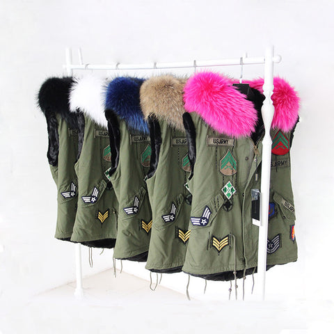 Army Vest with Fur Hood