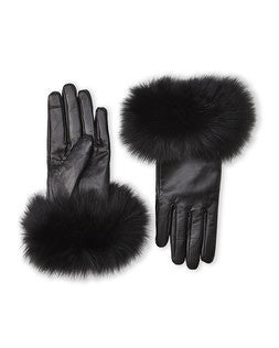 Fur Trimmed Leather Gloves