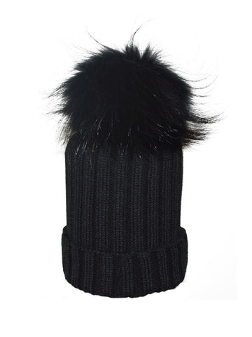 Black * Matching Pom * Ribbed Knit Hat