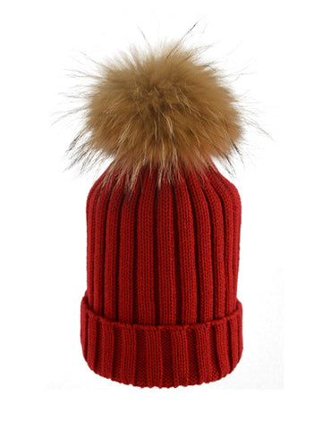 Red *Natural Pom* Ribbed Knit Hat