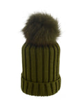 Mint * Matching Pom * Ribbed Knit Hat
