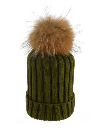 Olive *Natural Pom* Ribbed Knit Hat