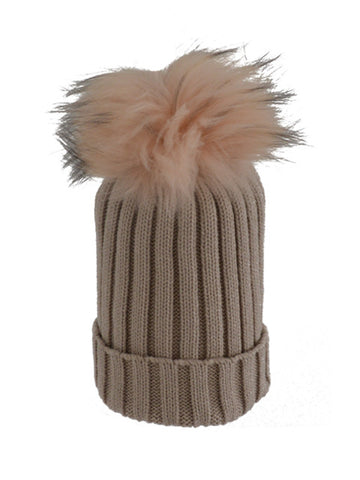 Beige * Matching Pom * Ribbed Knit Hat