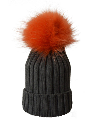 Charcoal *Orange Pom* Ribbed Knit Hat