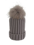 Grey * Matching Pom * Ribbed Knit Hat