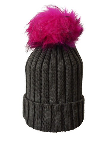 Charcoal *Pink Pom* Ribbed Knit Hat