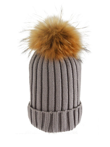Grey *Natural Pom* Ribbed Knit Hat