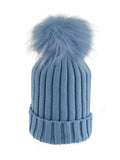 Baby Blue * Matching Pom * Ribbed Knit Hat