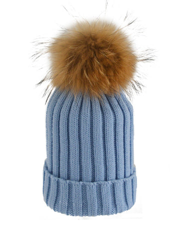 Baby Blue *Natural Pom* Ribbed Knit Hat