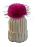 Ivory *Pink Pom* Ribbed Knit Hat