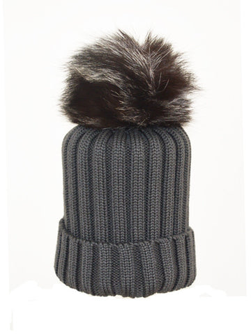 Charcoal *Silver Fox Pom* Merino Wool Hat