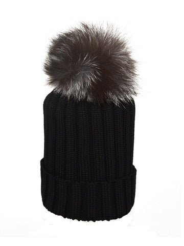 Black *Silver Fox Pom* Merino Wool Hat