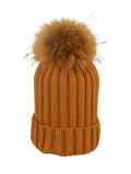 Orange * Matching Pom * Ribbed Knit Hat