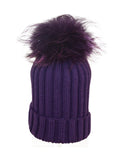 Charcoal * Matching Pom * Ribbed Knit Hat